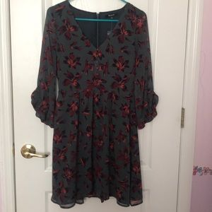 NWT Madewell Ruffle Sleeve Dress in Winter Orchid